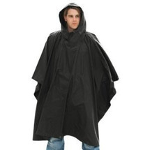 man in Waterproof Poncho US Style in Black
