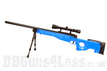 Well MB01 Warrior Mk3 L96 replica Sniper rifle in blue with bipod and scope