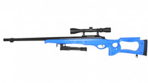 Well MB10 Warrior Sniper rifle in blue with bipod and scope