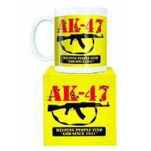 AK47 automatic machine gun mug in yellow