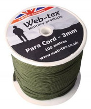 Web-Tex 100m Roll of 3mm Para Cord in Olive Green