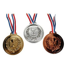 shooting medals in gold silver and bronze