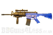 Yika M16 A9 Spring rifle with mock scope in blue