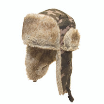 Camo trapper hat with fur trim & Fur Ear Flaps