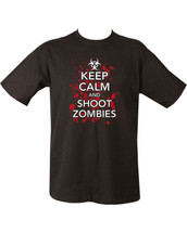 Keep Calm and shoot Zombies T Shirt in black