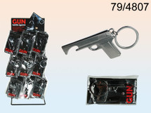 pistol bottle opener key ring