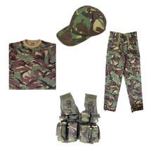 Full Kids Army Kit inc Tactical Vest T-Shirt Trousers & Cap in DPM Camo