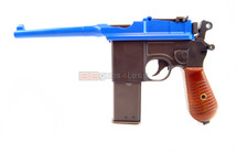 HFC HG-196 Broom Handle Mauser C96 Gas powered pistol in blue