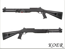 KOER Super 90 Combat Tri Barrel Shotgun Fixed Stock in Black