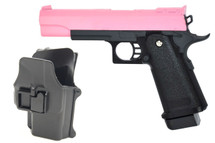 Galaxy G6H M1911 Full Metal Pistol with Holster in pink