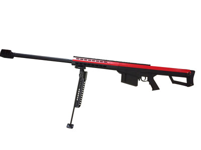 Galaxy M82A1 bolt action sniper rifle with bipod in red/black