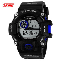 G Style Army Digital Rubber Wrist Watch in Black/Blue (nt)