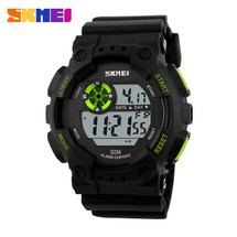 Urban LED Display Watch in Black Strap with Green Buttons- DG1101