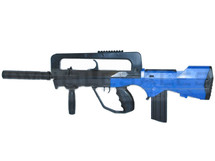Double Eagle M46A Famas spring bb gun in blue