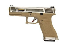 WE Force Series Custom G17 GBBP Silver Slide with Gold Barrel in tan