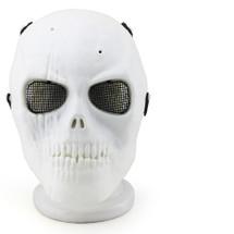 Wo Sport Skull Plastic Mask V1 (Steel Mesh) in White