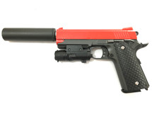 Galaxy G25A Kimber Metal Pistol inc Silencer in Red