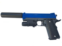 Galaxy G25A Kimber Metal Pistol inc laser & Silencer in Blue