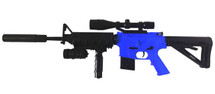 Cyma P1158D Spring Powered M16, tactical stock in blue