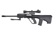 JG Works 0446A Airsoft Sniper Rifle with Scope & Bipod in Black