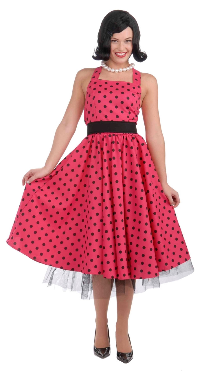 Pretty in Pink 50s Polka Dot Costume Dress - The Costume ...