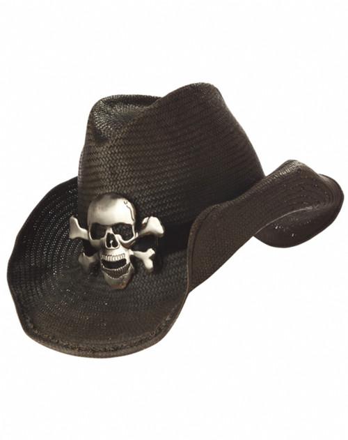 skull straw cowboy hat the costume shoppe. Black Bedroom Furniture Sets. Home Design Ideas