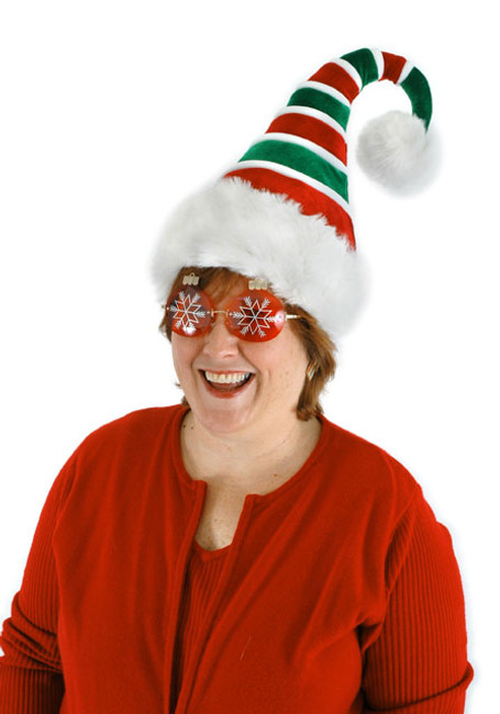 Ridged Red and Green Santa Hat