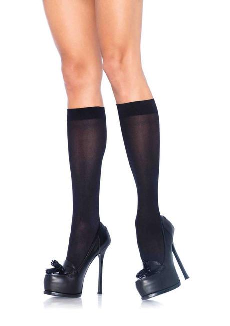 Ladies Opaque Black Knee High Socks