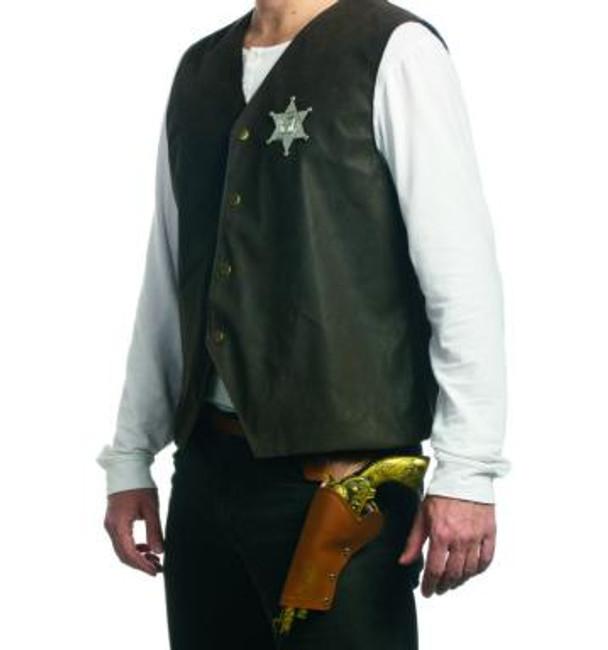 Gold Cowboy Gun, Holster and Badge Set