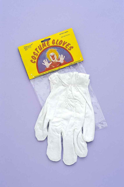 White Clown Costume Gloves