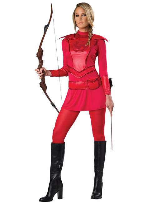 Red Warrior Huntress Ladies Costume