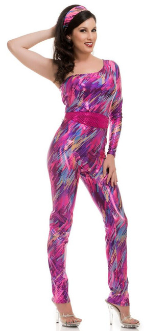 Ladies 80s Ya-Zzercise Jumpsuit Costume