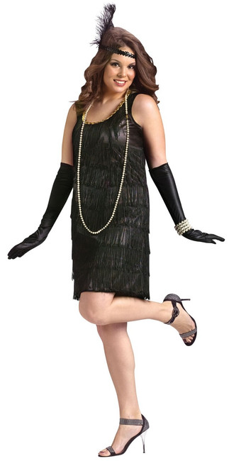 20s Black Flapper Dress Ladies Plus