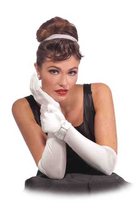 Vintage Hollywood Bow and Buckle Long Gloves in Black or White