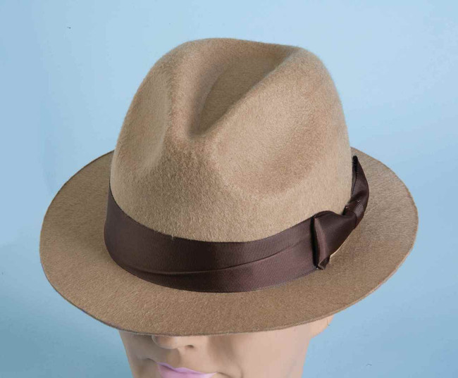 Tan Gangster Fedora Hat