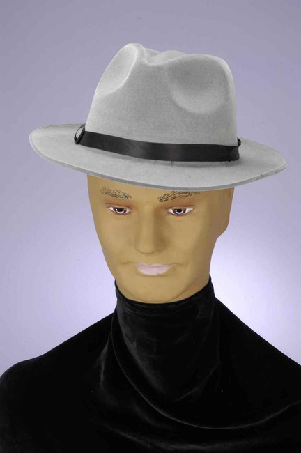 Grey Flocked Gangster Hat