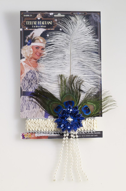 Roaring 20s Ivory Feather Flapper Headband