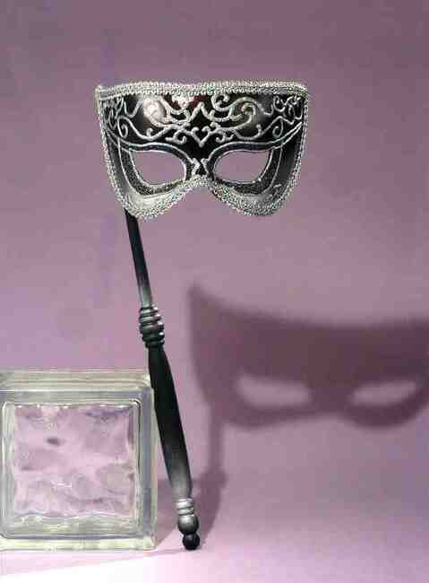 Silver Glitter Mask with Stick