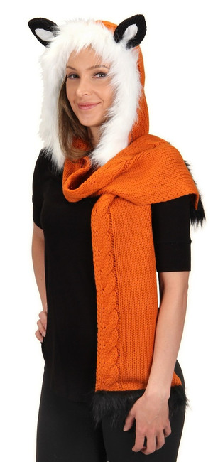 Fun Fox Knitted Hood Hat