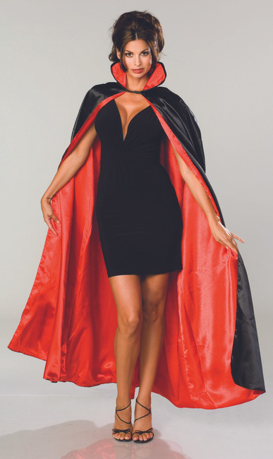 Long Black Satin Cape with Red Lining