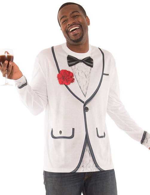 Mens White Faux Tux Shirt