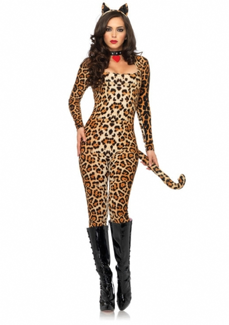 Sexy Ladies Leopard Cougar Catsuit Costume