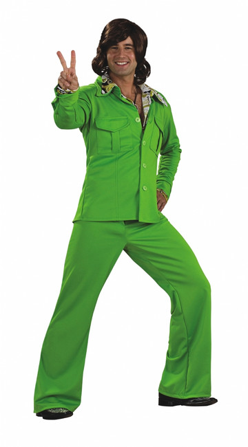 Lime Leisure Suit 70s Costume