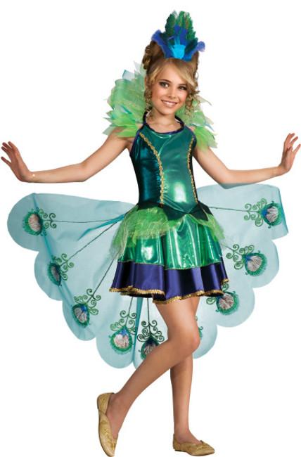 Girls Fancy Peacock Bird Costume