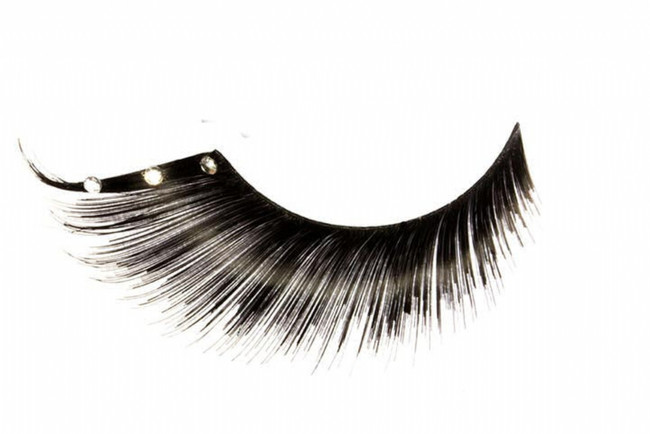Black Eyelashes with Jewel Accent