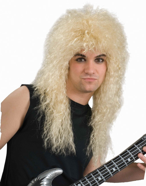 80s Rock Star Costume Wig - Black and Blond