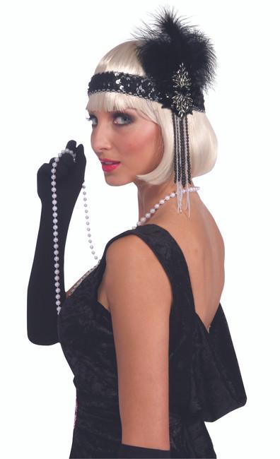 20s Black Flapper Headband