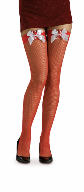 Red Fishnet Thigh Highs with Bows and Candy Canes