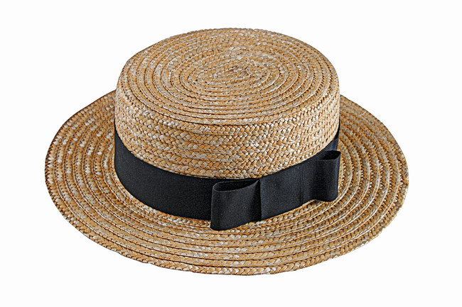 Straw Boater Hat and Bowtie
