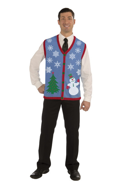 Ugly Christmas Sweater Vest with Snowflakes